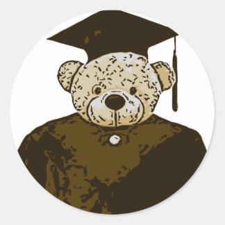 Graduation Bear Classic Round Sticker