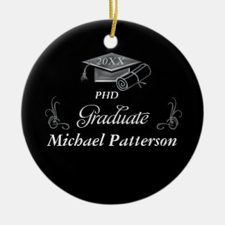 Graduation Black & Silver 3D Look, Cap & Diploma Ceramic Ornament