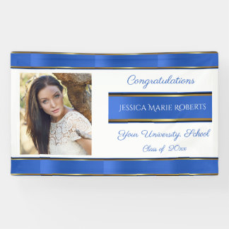 Graduation, Blue Gold, Custom Photo, Banner