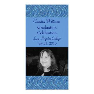 graduation blue pattern custom photo card