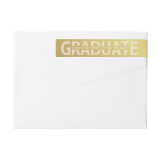 Graduation Bold Gold Lettering School Colors Wrap Around Label