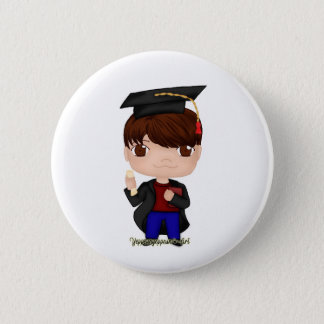 Graduation Boy Brown (B) 2 Inch Round Button