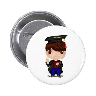 Graduation Boy Brown (B) 2 Inch Round Button