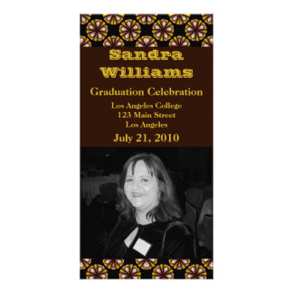 graduation brown circles customized photo card