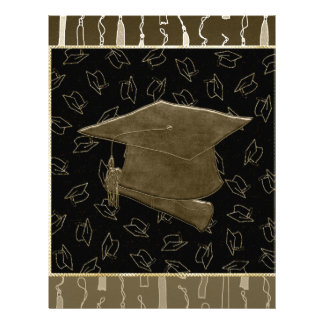 Graduation Cap and Diploma Mouse Pad, Brown, Black Letterhead