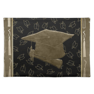 Graduation Cap and Diploma Mouse Pad, Brown, Black Placemat