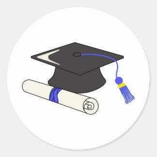 Graduation Cap And Diploma Round Sticker