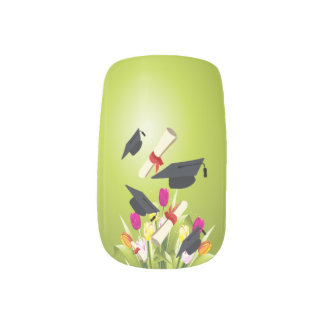 Graduation Cap and Flowers Minx Nail Art