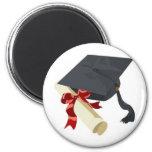 Graduation Cap & Diploma 2 Inch Round Magnet