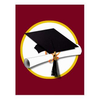 Graduation Cap & Diploma - Dark Red Background Postcard