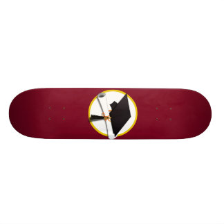 Graduation Cap & Diploma - Dark Red Background Skateboards