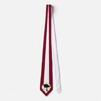Graduation Cap & Diploma - Dark Red Background Tie