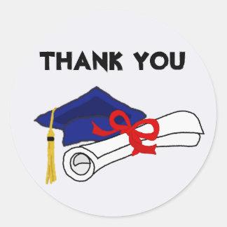 Graduation Cap Diploma Thank You Round Sticker