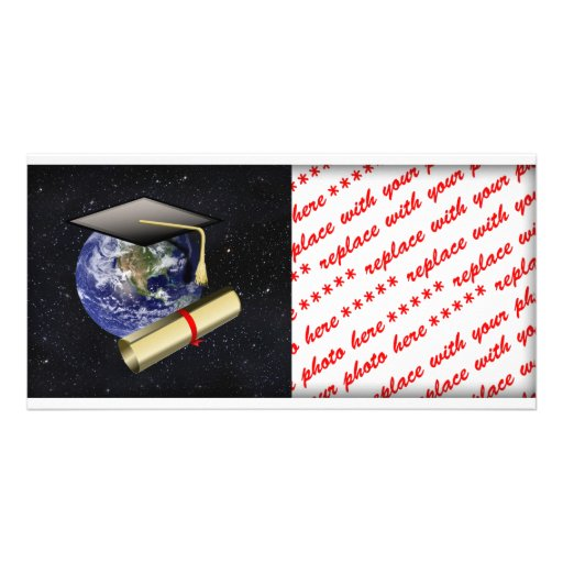 Graduation Cap, Earth w/diploma - Star Background Photo Card Template