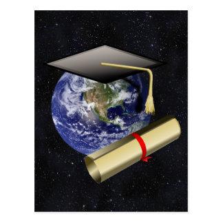 Graduation Cap, Earth w/diploma - Star Background Postcard