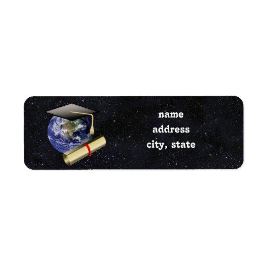 Graduation Cap, Earth w/diploma - Star Background Return Address Label