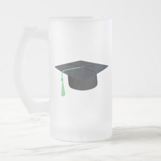 Graduation Cap Frosted Glass Beer Mug