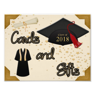 Graduation Cap Gown & Tassel Cards Gift Table Sign