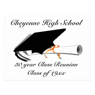 Graduation Cap - High School Class Reunion Postcard