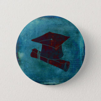 Graduation Cap on Vintage Paper with Writing, Aqua 2 Inch Round Button