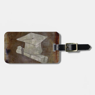 Graduation Cap on Vintage Paper with Writing Bag Tag