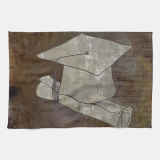 Graduation Cap on Vintage Paper with Writing Hand Towels