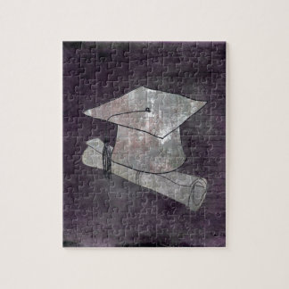 Graduation Cap on Vintage Paper with Writing Jigsaw Puzzle