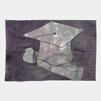 Graduation Cap on Vintage Paper with Writing Kitchen Towel