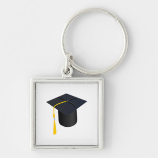 Graduation Cap Silver-Colored Square Keychain