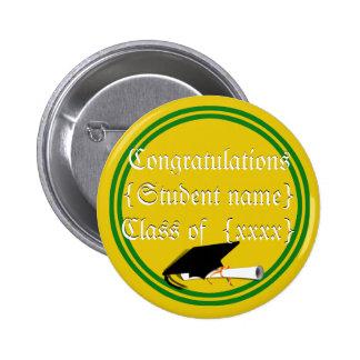 Graduation Cap Tilt School Colors Green And Gold 2 Inch Round Button