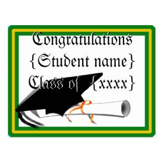 Graduation Cap Tilt School Colors Green And Gold Postcard