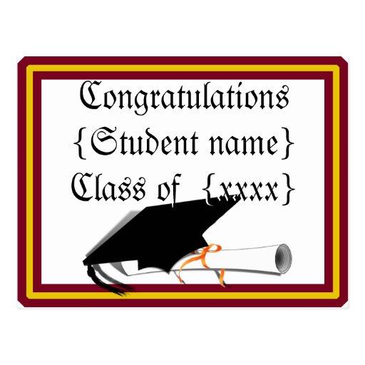 Graduation Cap Tilt - School Colors Red & Gold Post Card