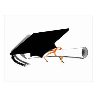 Graduation Cap Tilt With Diploma on Blank Postcards