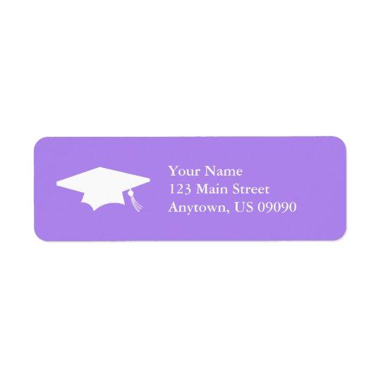 Graduation Cap (Violet Purple) Return Address Label