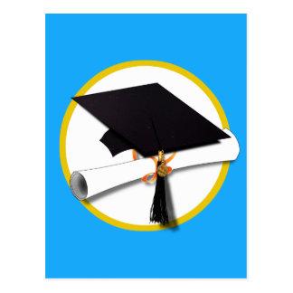 Graduation Cap w/Diploma - Blue Background Postcard