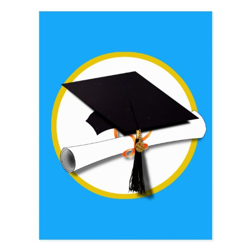 Graduation Cap w/Diploma - Blue Background Post Cards