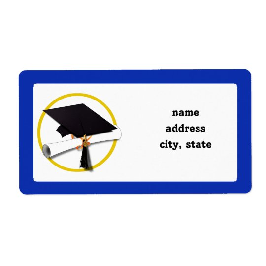 Graduation Cap w/Diploma - Dark Blue Background