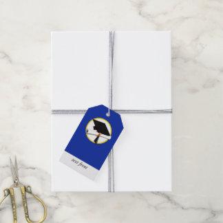 Graduation Cap w/Diploma - Dark Blue Background Gift Tags