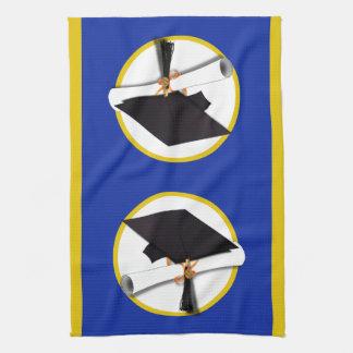 Graduation Cap w/Diploma - Dark Blue Background Kitchen Towel