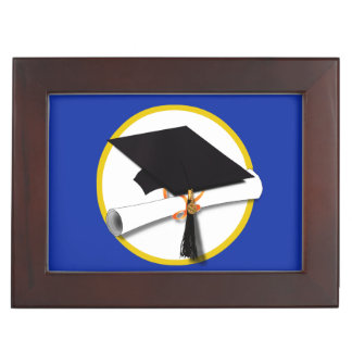 Graduation Cap w/Diploma - Dark Blue Background Memory Boxes