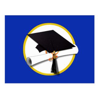 Graduation Cap w/Diploma - Dark Blue Background Postcard