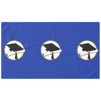 Graduation Cap w/Diploma - Dark Blue Background Tablecloth