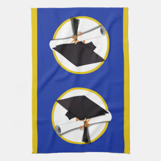 Graduation Cap w/Diploma - Dark Blue Background Towel