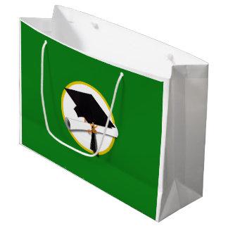 Graduation Cap w/Diploma - Green Background Large Gift Bag