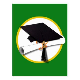 Graduation Cap w/Diploma - Green Background Postcard