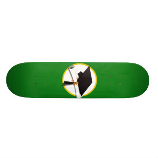 Graduation Cap w/Diploma - Green Background Skateboard Deck