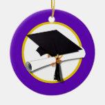 Graduation Cap w/Diploma - Purple Background