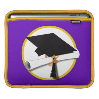 Graduation Cap w/Diploma - Purple Background Sleeve For iPads