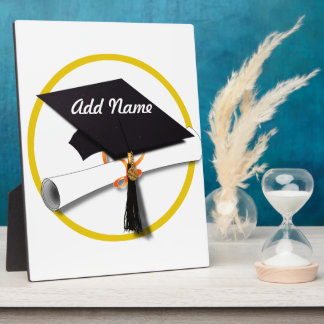 Graduation Cap with Diploma and Gold Circle Plaque