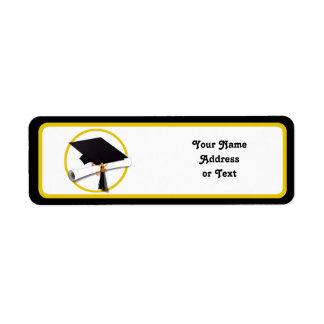 Graduation Cap with Diploma and Gold Circle Return Address Label